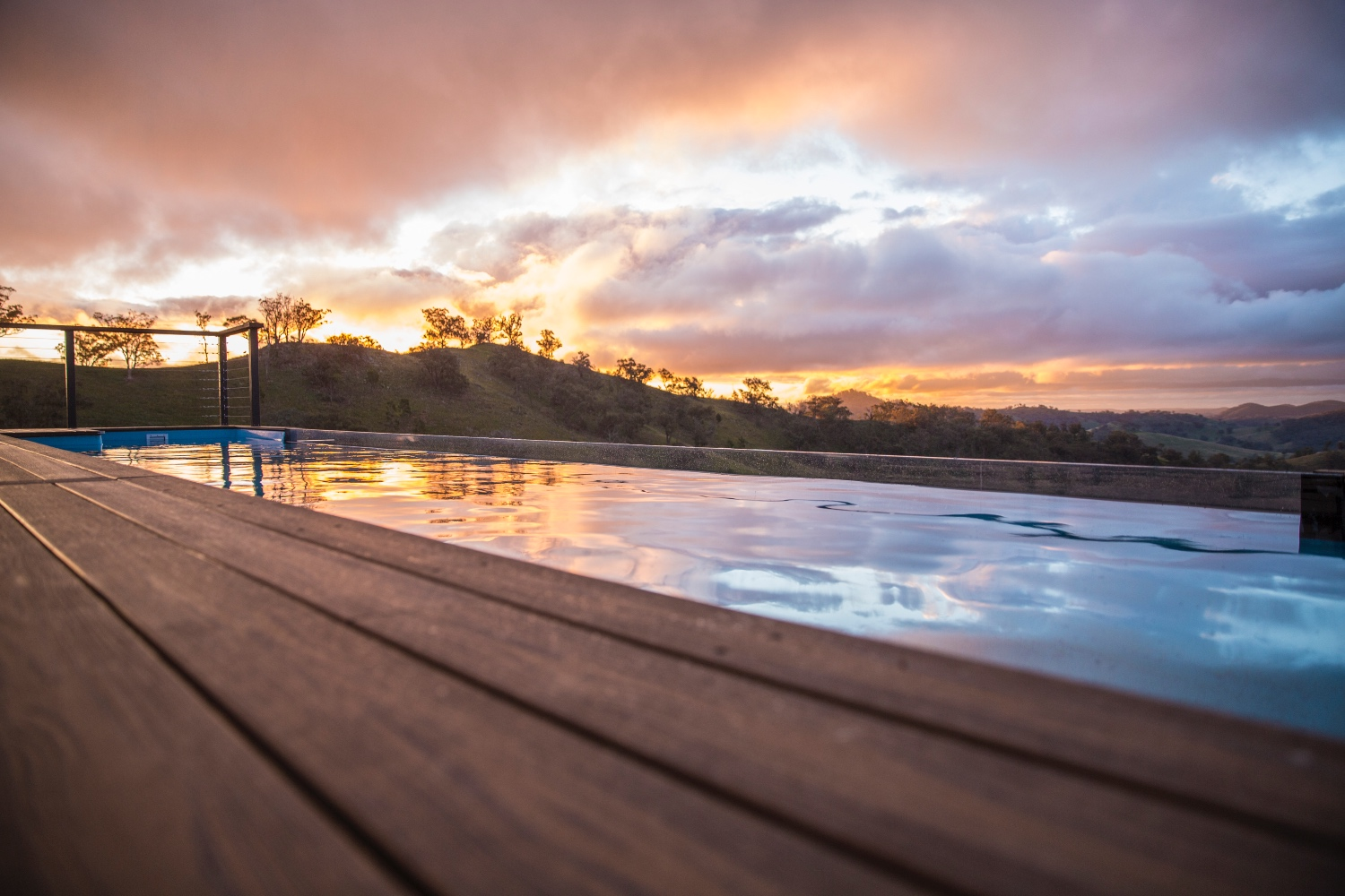 Composite decking beside a pool